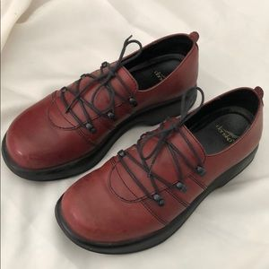 Red leather Dansko shoes
